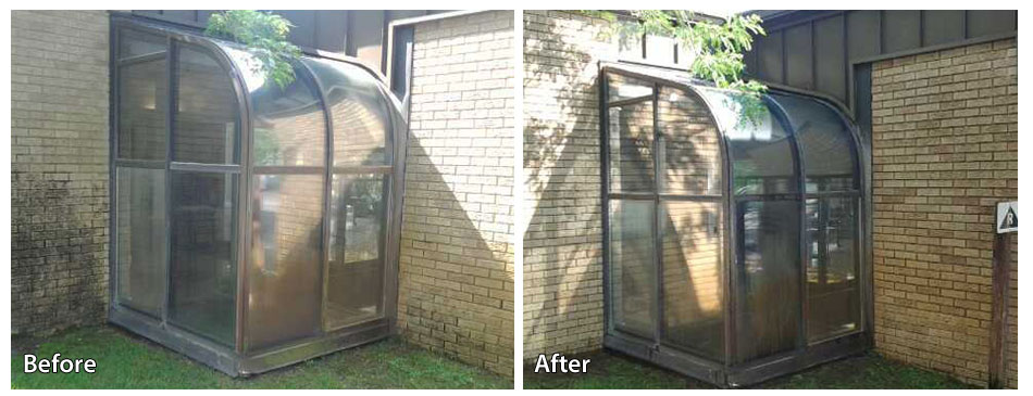 Before and After Power Washing the Gazebo