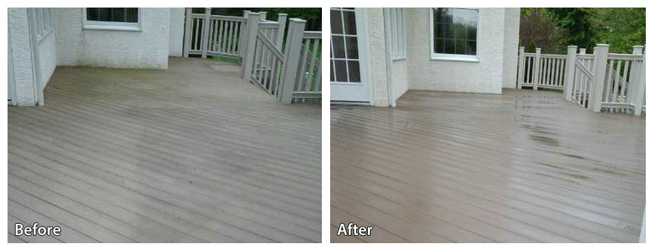 before and after pressure washing a deck in downingtown