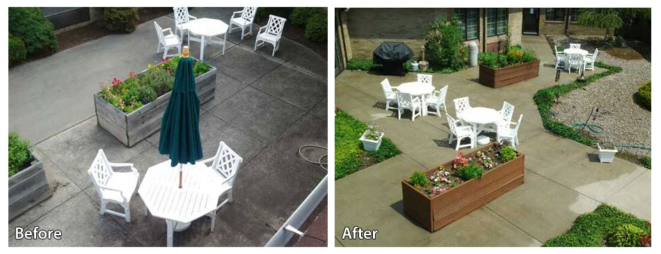 Before and after pressure washing a patio in Jackson NJ
