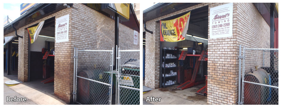 Before and after pressure washing an auto garage