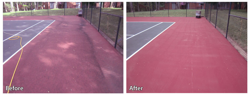 Before and After Pressure Washing a Tennis Court