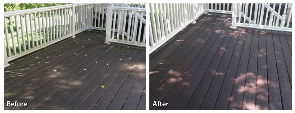 Before and after power washing a deck in west chester