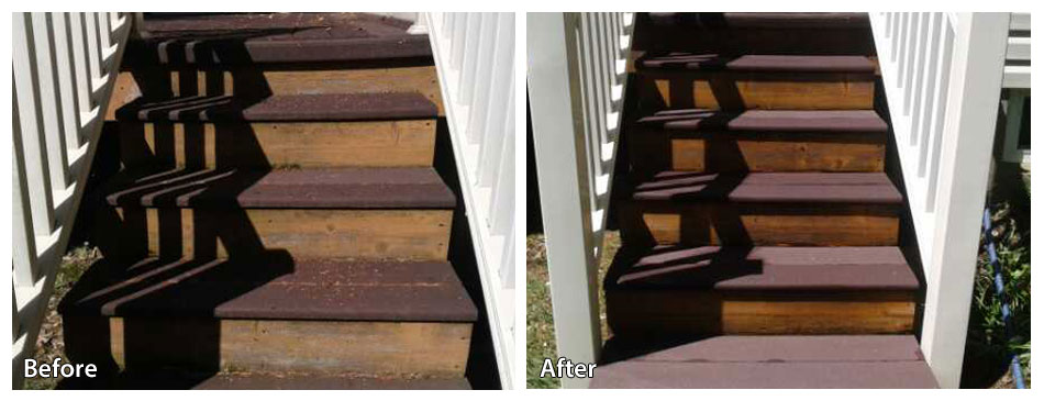 Before and after power washing steps in West Chester