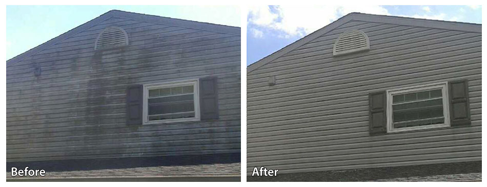 Before and After Power Washing Siding