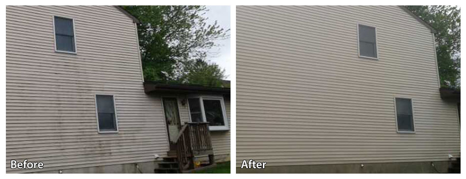 Before and after power washing siding in Delaware County
