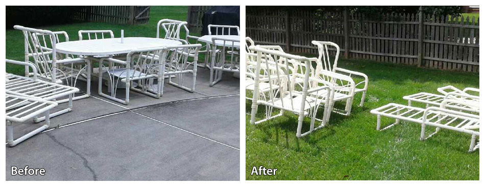 Before and after power washing patio furniture in Langhorne PA