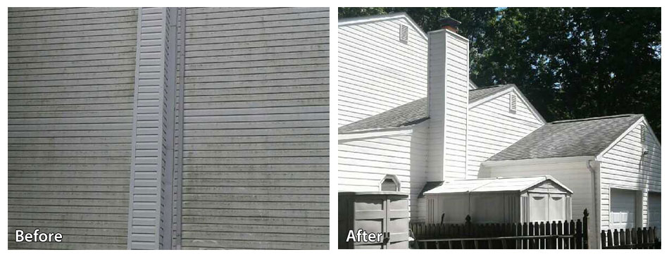 Before and after power washing siding in Yardley PA