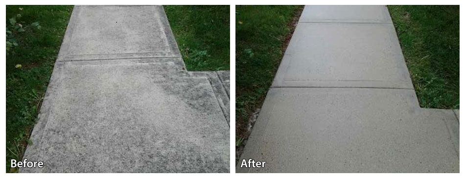 Before and After Pressure Washing Sidewalk