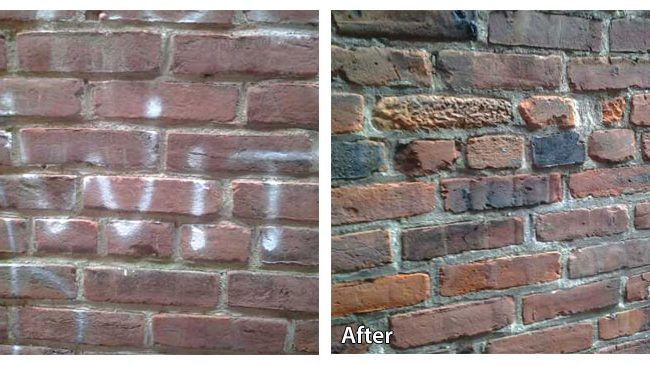 Before and after pressure washing a wall with graffiti in Doylestown