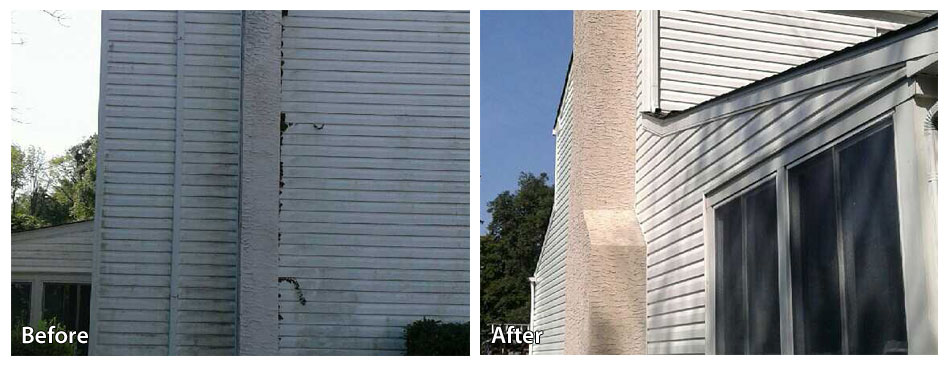 Before and after pressure washing a chimney in warminster