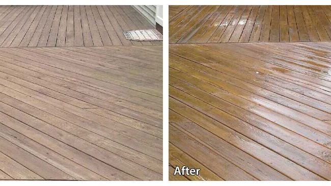 Before and after power washing a deck in Hatboro