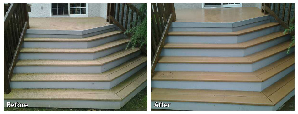 before and after power washing the steps