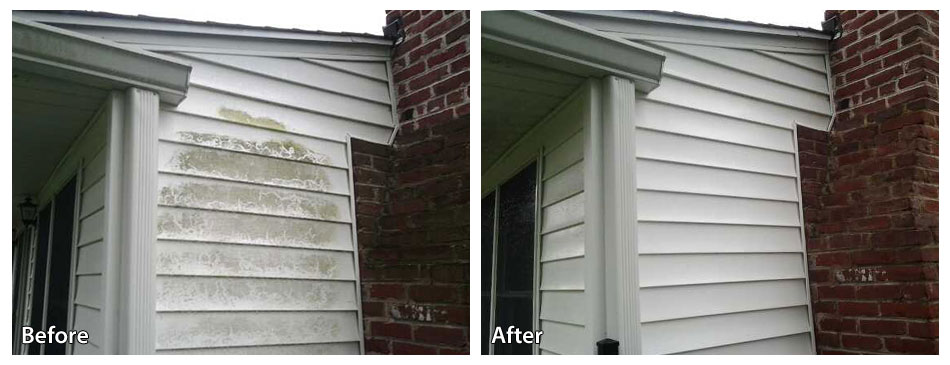 Before and After Pressure Washing Siding in Broomall