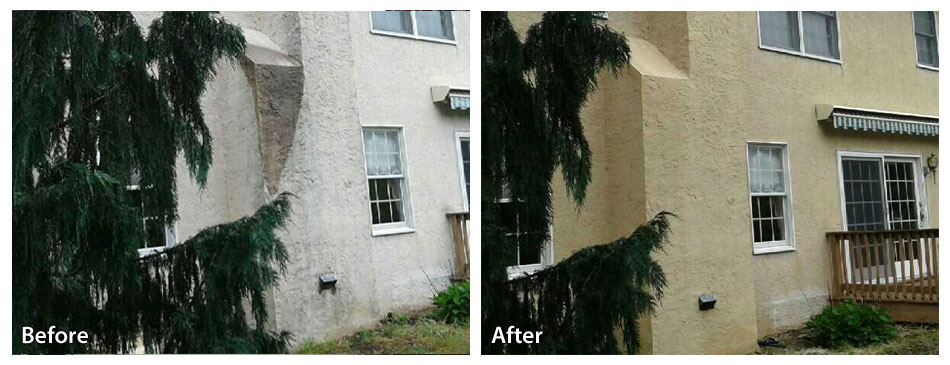 Fort Washington Stucco before and after a pressure wash