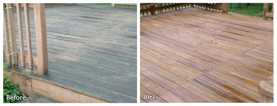 Before and after power washing a deck in Fort Washington