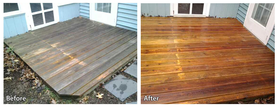 Before and after power washing a deck in chalfont
