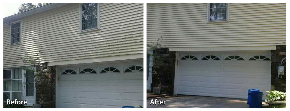 before and after power washing siding in media pa