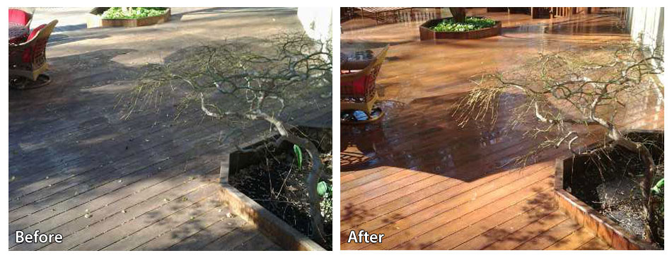 Before and After Power Washing a Deck in Media