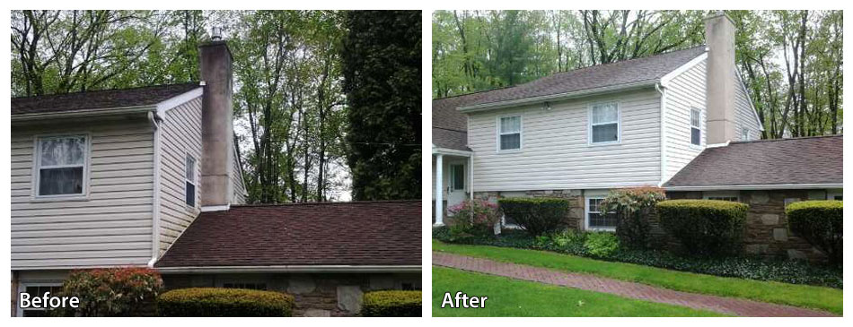 Before and After Pressure Washing a Stucco Chimney