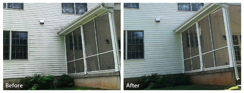 before and after pressure washing siding in Morrisville