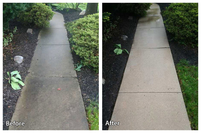 Before and after--power washing concrete in Paoli