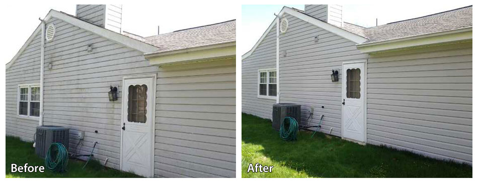 before and after pressure washing siding in newtown square