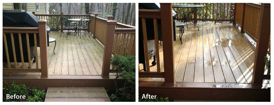 Before and after a Chester County pressure washing job