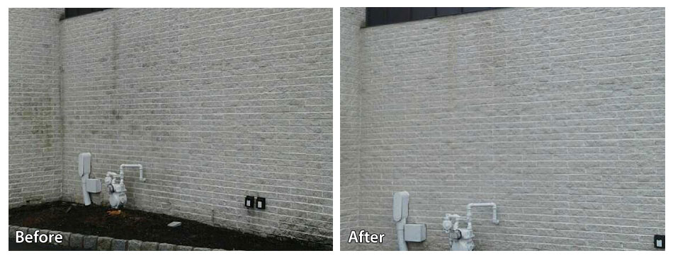 before and after pressure washing a commercial space in Exton