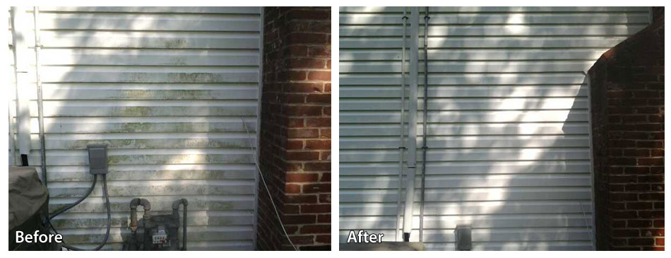 before and after pressure washing siding in Malvern PA by Rolling Suds