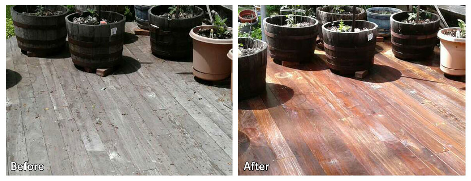 Before and After Power Washing a Deck in Paoli