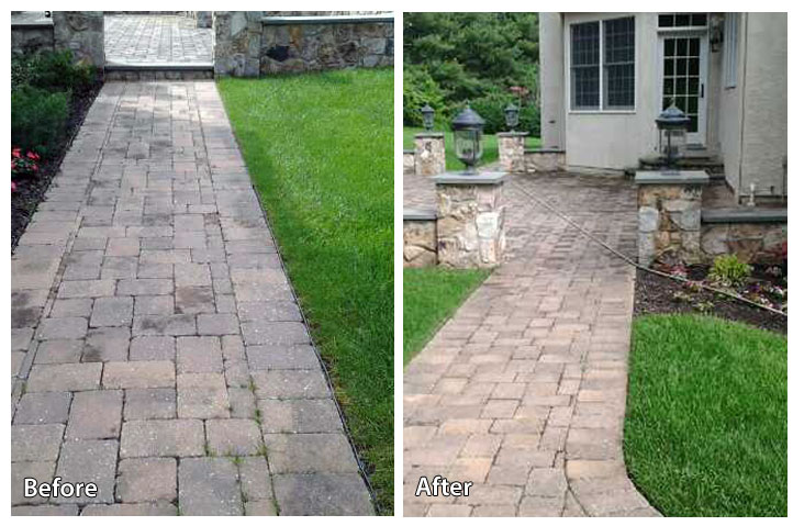 Before and after pressure washing a walkway in Plymouth Meeting