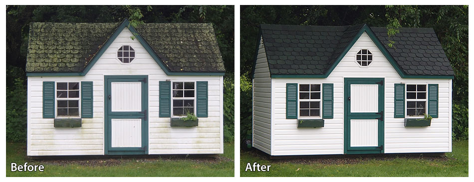 before and after pressure washing a shed in Montgomery County PA