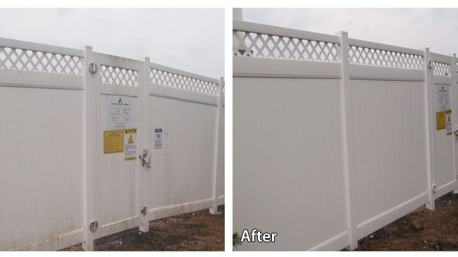 Before and After Pressure Washing a Commercial Fence