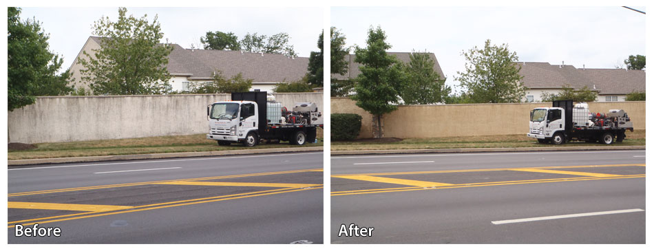 Before and After Power Washing a Stucco Barrier