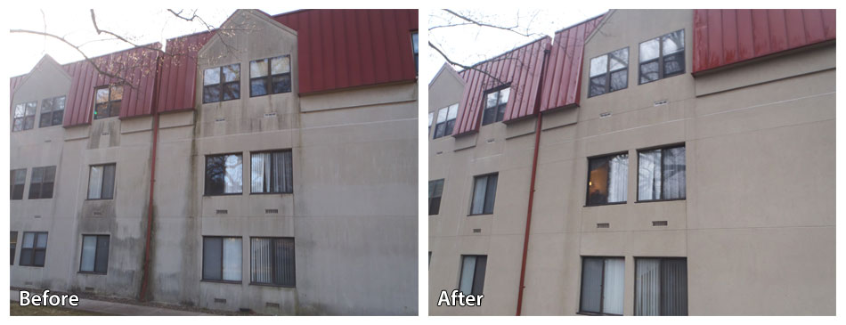 Before and after pressure washing an apartment building