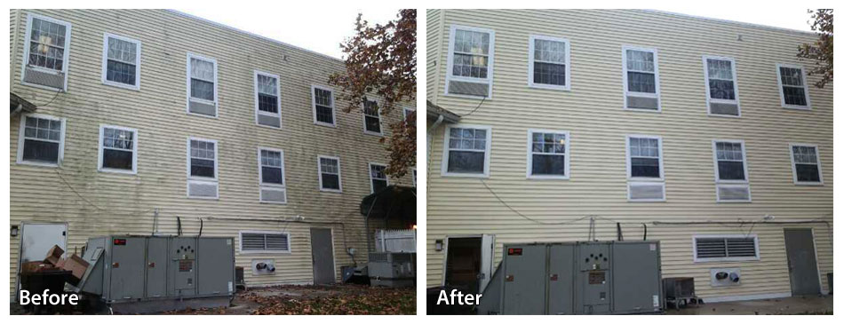 The Best Way To Solve This Is With A Round Of Washing Just Look What It Did For Apartment Building After One Wash Siding Looks As