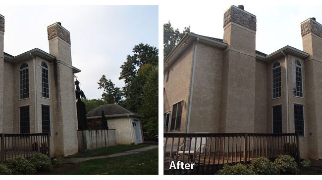 stucco before and after a pressure wash