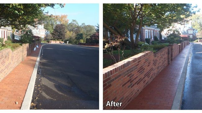 Before and after power washing a brick sidewalk