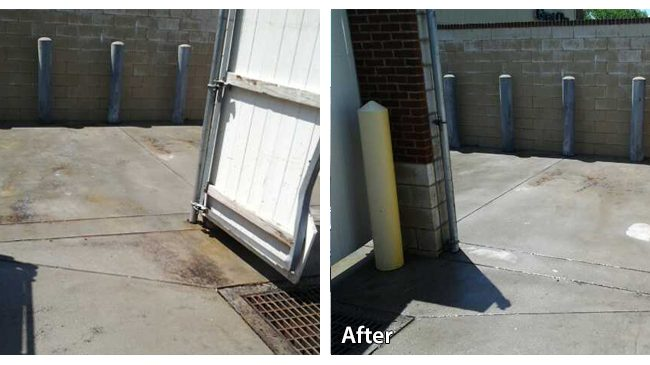 Before and After Pressure Washing Rust off of Concrete
