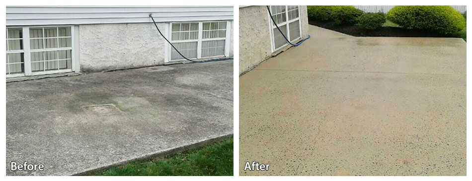 before and after pressure washing a concrete patio