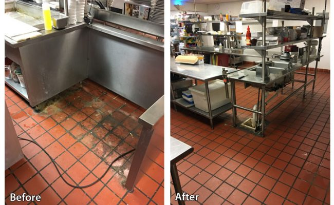 before and after pressure washing the floor in a commercial kitchen