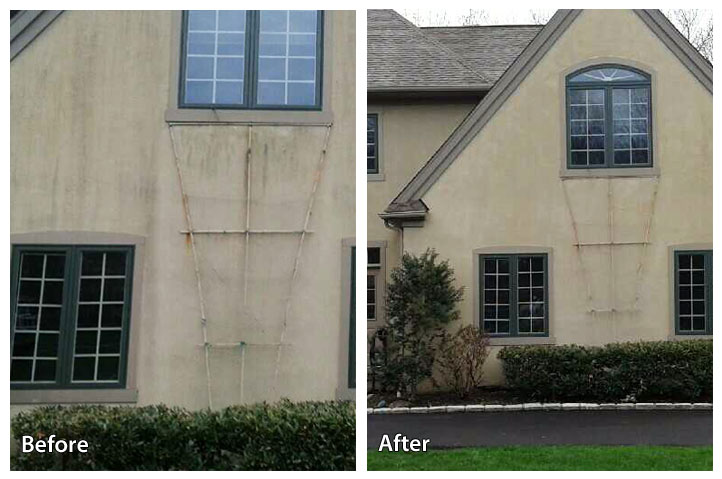 before and after pressure washing a stucco home
