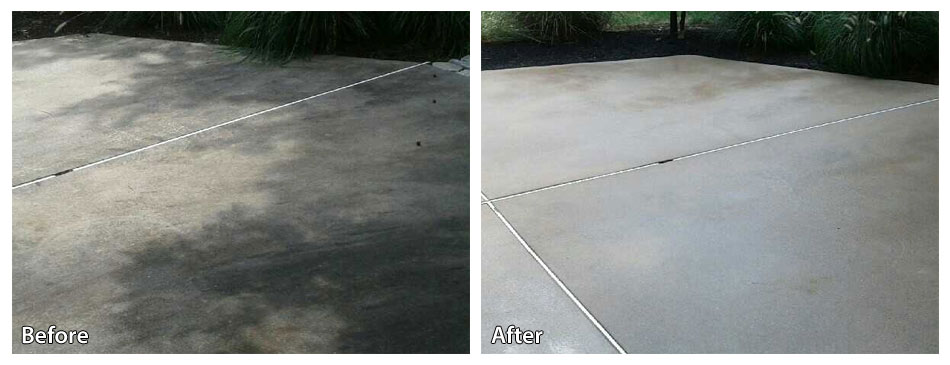 before and after pressure washing a concrete parking lot
