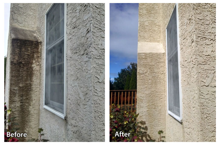 before and after a stucco soft wash