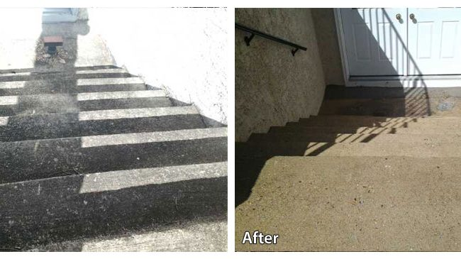 Before and after pressure washing the concrete steps