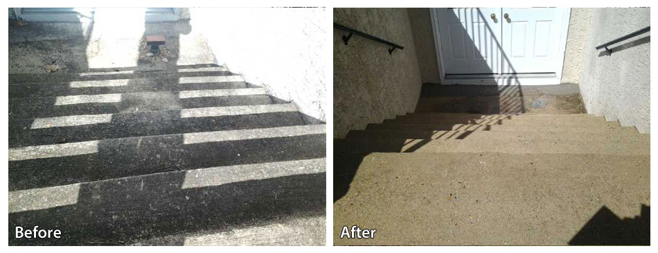 Pressure Washing A Set Of Concrete Steps Rolling Suds