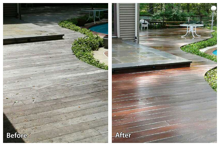 Soft washing a wooden deck