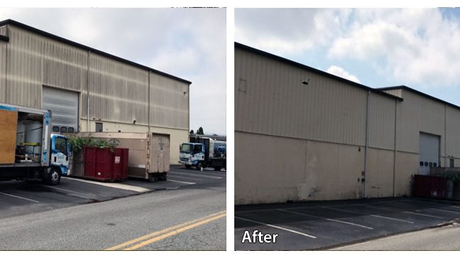 before and after pressure washing a warehouse