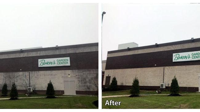 Before and after pressure washing a Boscovs