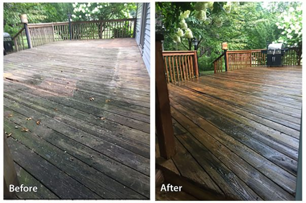 Before and after cleaning deck